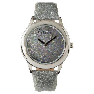 輝きの銀およびホログラムのグリッターの腕時計! 腕時計