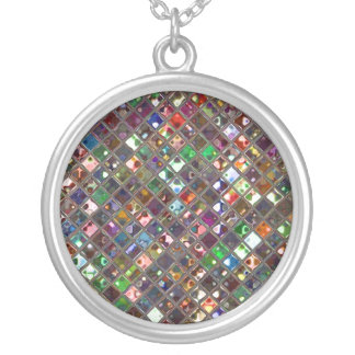 輝きは多彩のプリントのネックレスをタイルを張ります シルバープレートネックレス