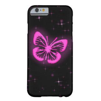 輝きを持つピンクの蝶 BARELY THERE iPhone 6 ケース