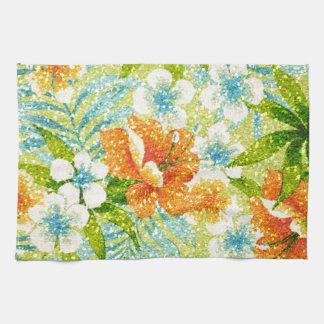 輝き効果の春の花柄 キッチンタオル