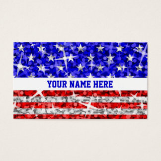 輝き米国の白のストライブ柄の名刺のテンプレート 名刺