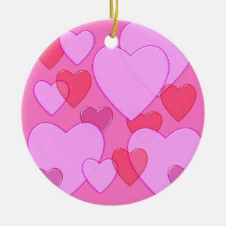 輝くなハートのバレンタインの背景のピンク セラミックオーナメント