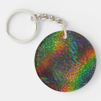 輝くなライトレーザー光線写真グリッターの虹 キーホルダー
