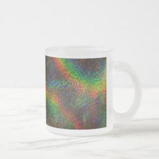 輝くなライトレーザー光線写真グリッターの虹 フロストグラスマグカップ