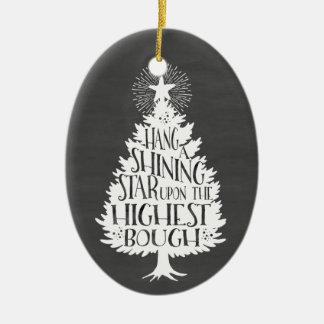 輝くな星のクリスマスツリーの黒板の記念品 セラミックオーナメント