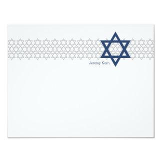 輝くな星のバーの(ユダヤ教の)バル・ミツバーの青のサンキューカード カード