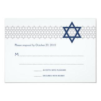 輝くな星のバーの(ユダヤ教の)バル・ミツバー青いRSVPのカード カード