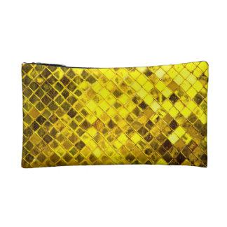 輝くな金ゴールドのダイヤモンドパターン コスメティックバッグ