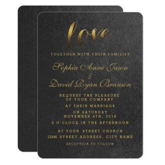輝くな金ゴールドホイル愛黒の結婚式の招待 11.4 X 15.9 インビテーションカード