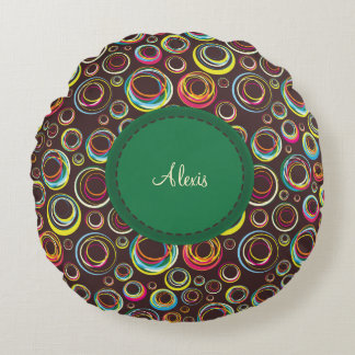 輪ゴム-緑のラベル-円形の枕 ラウンドクッション