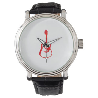 輪郭を描かれたギターの写実的な赤 腕時計