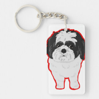 輪郭を描かれるシーズー(犬)TzuのKeychainの前部およびお尻 キーホルダー