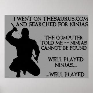 辞典の忍者のおもしろいな忍者ポスター印 ポスター
