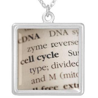 辞書の化学言葉のクローズアップ シルバープレートネックレス