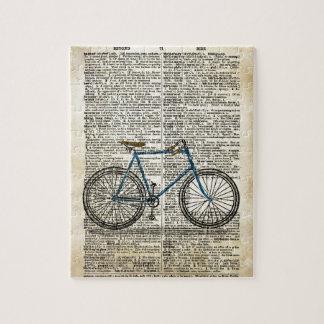 辞書の芸術のプリントの青い自転車のバイクのヴィンテージ ジグソーパズル
