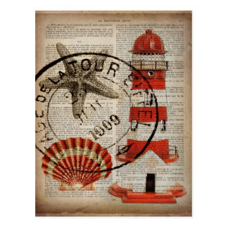 辞書は芸術の沿岸貝殻の灯台を印刷します ポストカード