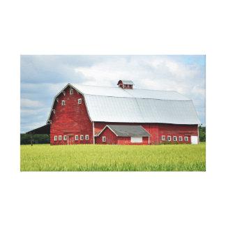 農場のプリントのキャンバスの赤い納屋 キャンバスプリント