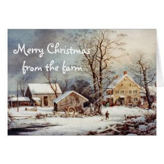 農場のヴィンテージカードの国のクリスマス カード