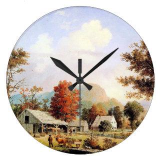 農場の入り江の馬のウシの納屋のアメリカの柱時計 時計