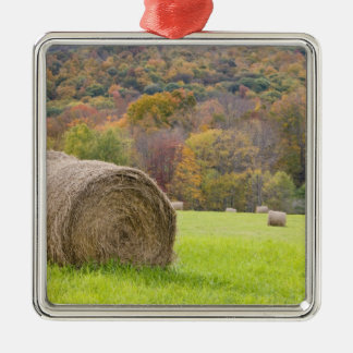 農場の干し草ベールそして紅葉、 メタルオーナメント