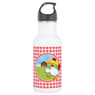 農場の鶏; 赤と白のギンガム ウォーターボトル