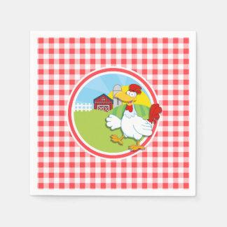 農場の鶏; 赤と白のギンガム スタンダードカクテルナプキン