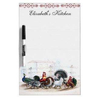 農場ヤードのオンドリのトルコの孔雀のウズラの雌鶏 ホワイトボード