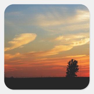 農場上の日没 スクエアシール
