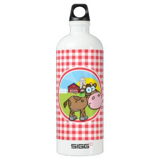農場牛; 赤と白のギンガム ウォーターボトル