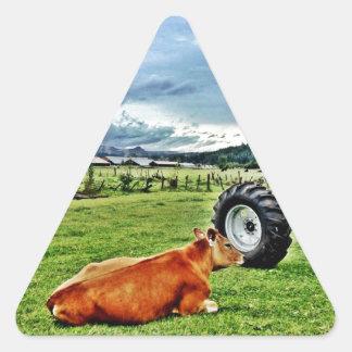農場 三角形シール