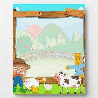 農家および動物とのボーダーデザイン フォトプラーク