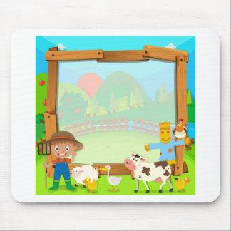 農家および動物とのボーダーデザイン マウスパッド