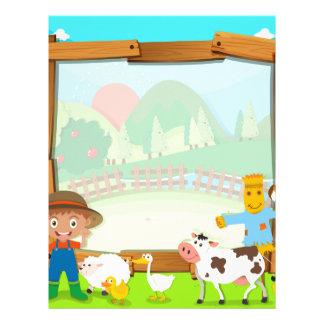 農家および動物とのボーダーデザイン レターヘッド