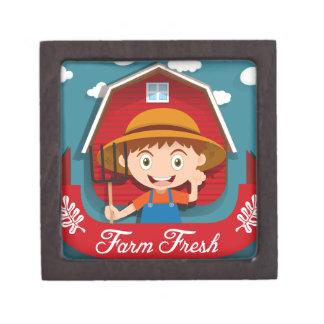 農家および納屋とのロゴのデザイン ギフトボックス