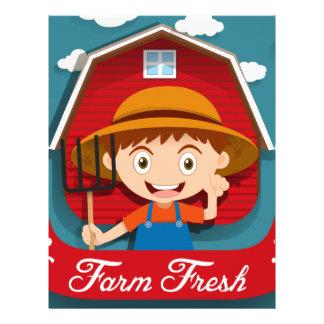 農家および納屋とのロゴのデザイン レターヘッド