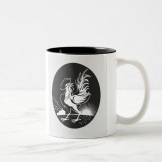 農家のオンドリのマグ ツートーンマグカップ