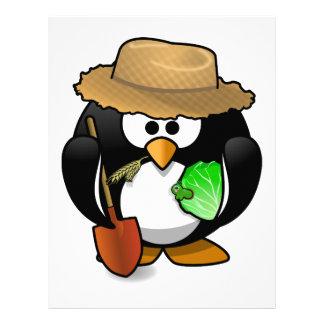 農家のペンギンのアニメーションの漫画のイラストレーション レターヘッド