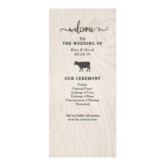 農家の上品 の白い木製の結婚式プログラム ラックカード