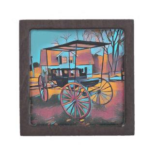 農家の前の芸術的なキャリッジ ギフトボックス