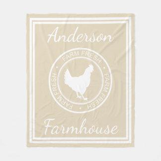 農家の素朴な農場の新しい雌鶏及び姓 フリースブランケット