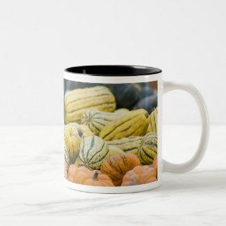 農家の表示のカボチャそして南瓜 ツートーンマグカップ