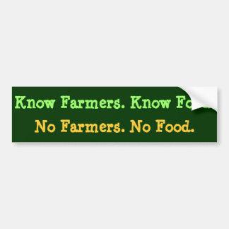 農家無し。 食糧無し。 農家を知って下さい。 食糧を知って下さい バンパーステッカー