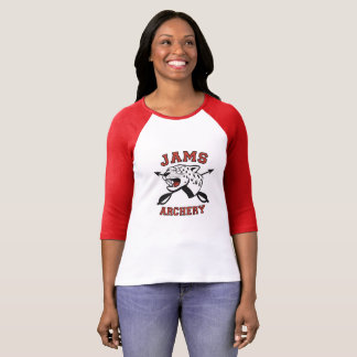 込み合いのアーチェリーのロゴのraglan tシャツ