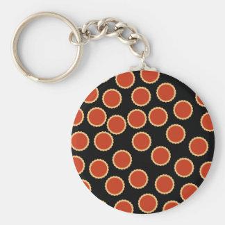 込み合いのタルトパターン。 いちごの赤。 パイ キーホルダー