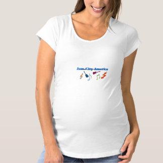 込み合い都市アメリカの母性のTシャツ マタニティTシャツ