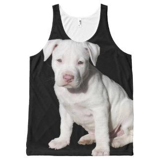 近くおよび愛らしいの上の白いピットブルの子犬、 オールオーバープリントタンクトップ
