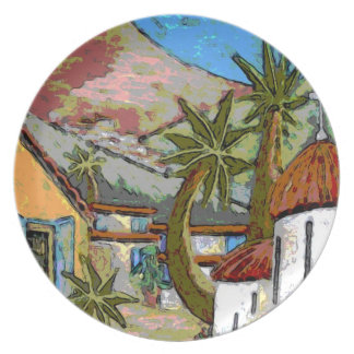 近代美術のプレート-ギリシャの村 プレート