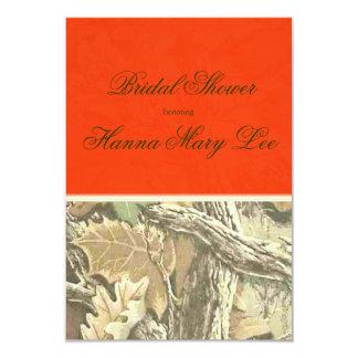 迷彩柄のエレガントなオレンジブライダルシャワー カード