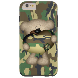 迷彩柄のハートの軍のテディー・ベア TOUGH iPhone 6 PLUS ケース