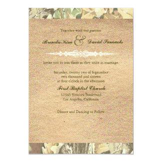 迷彩柄のバーラップの結婚式招待状 カード